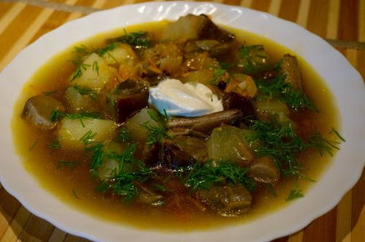 Суп с подберезовиками