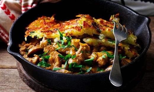 Картофельные оладьи с рядовками
