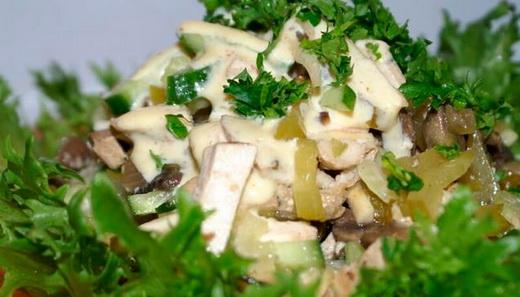 Салат с вешенками и яйцом